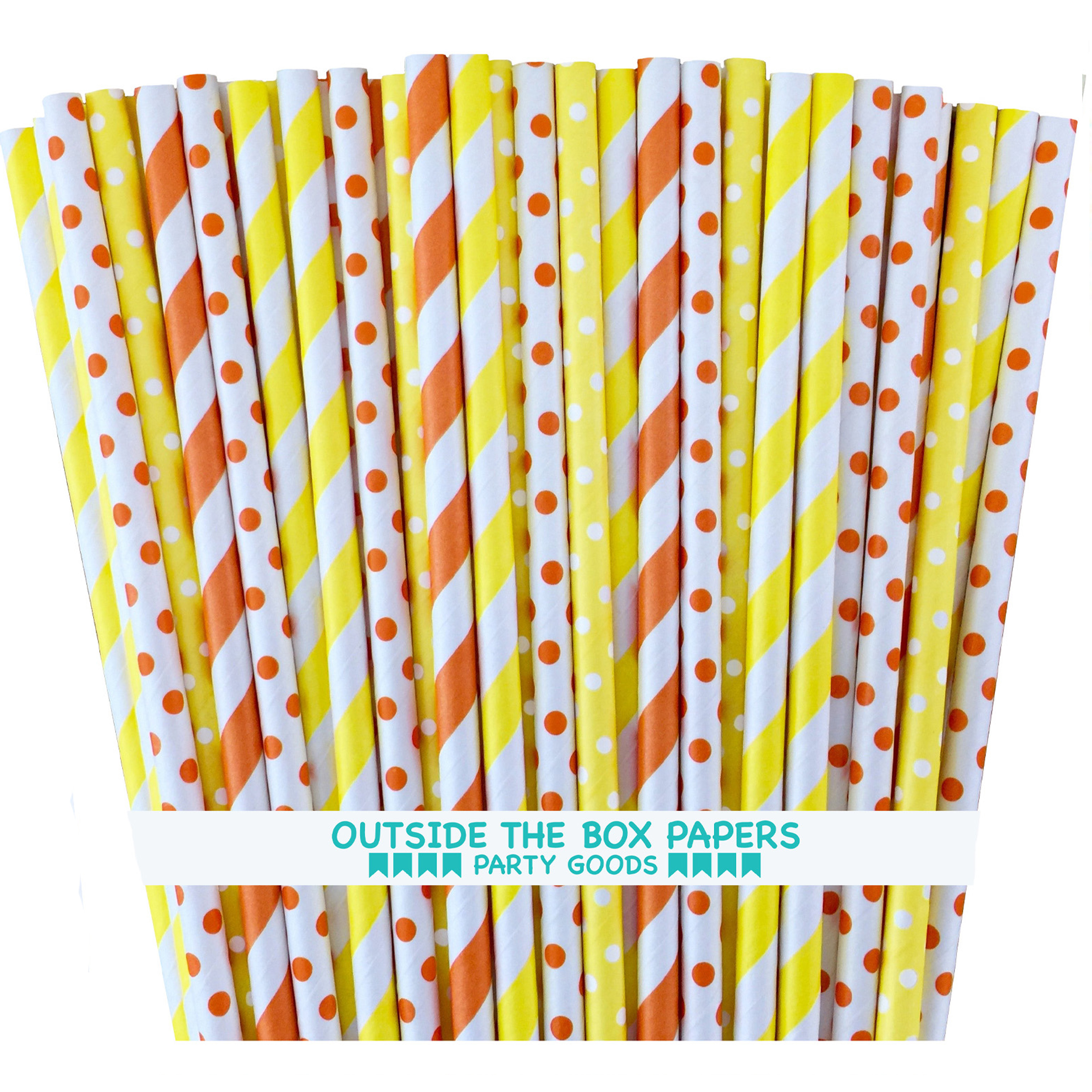 Orange and Yellow Stripe and Polka Dot Paper Straws  100 Pack