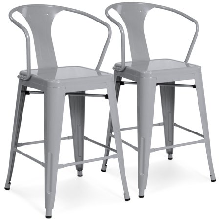 Astonishing Best Choice Products Set Of 2 24In Industrial Metal Counter Height Bar Stools W High Backrest Silver Squirreltailoven Fun Painted Chair Ideas Images Squirreltailovenorg