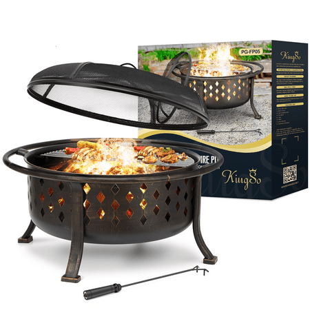 """KingSo 36""""Outdoor Chimenea Fire Pit Bowl BBQ Pit Grill Round Wood Burning Fire Pit Table with Screen Black Bonfire Pit with Cooking Grid Poker for Backyard Garden Camping Bonfire Patio-Bronze"""