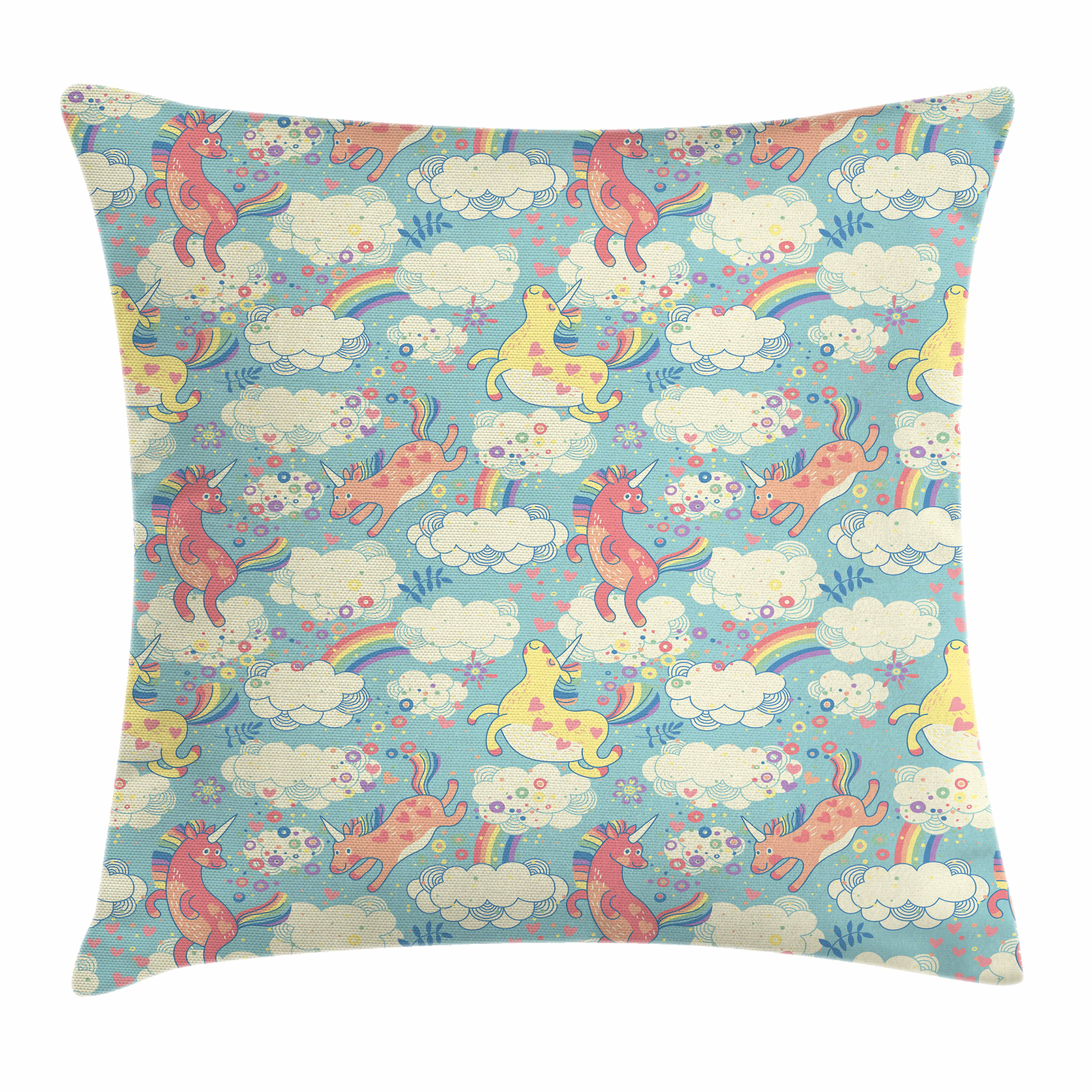 Pastel Throw Pillow Cushion Cover, Rainbow Unicorns Flying in Sky with Clouds Children Cheerful Kids Room Nursery Decor, Decorative Square Accent Pillow Case, 16 X 16 Inches, Multicolor, by Ambesonne