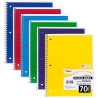 """05512 Spiral Notebook, College Ruled 7.5"""" x 10.5"""" 70 Sheets, 1 Subject, 6 Pack, Colors May vary, Pack of 6 Notebooks By Mead"""