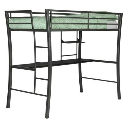 Dorel Home Metropolis Twin Metal Loft Bed With Desk  Gunmetal Gray