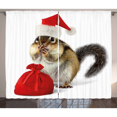 Christmas Curtains 2 Panels Set, Chipmunk in Red Santa Claus Hat and Bag with Surprise Xmas Presents, Window Drapes for Living Room Bedroom, 108W X 84L Inches, Pale Yellow White