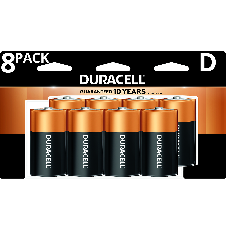 Duracell 1.5V Coppertop Alkaline D Batteries, 8 Pack