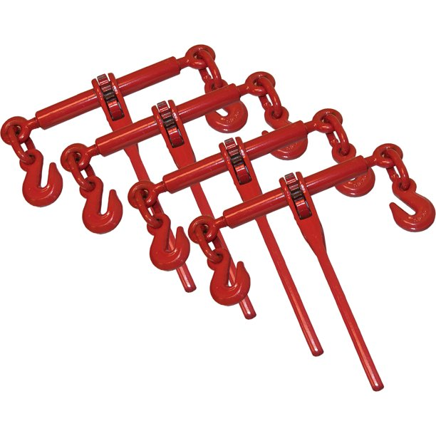 """4 Piece Ratchet Load Binder 3/8"""" 1/2"""" Chain Binders Tie"""