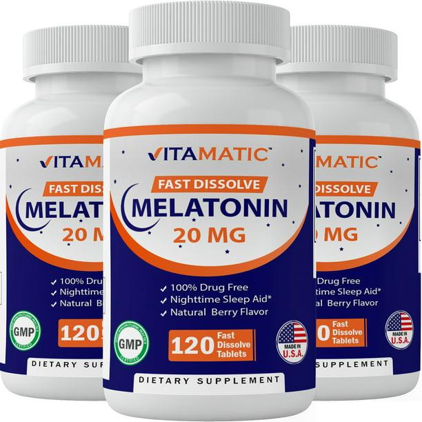 3 Pack - Vitamtic Melatonin 20 mg Fast Dissolve 120 ...