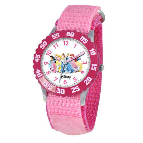 Disney Watches Kid's Princess Stainless Steel Time Teacher Watch in Pink