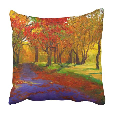 CMFUN Watercolor Abstract Oil Painting Maple in Autumn Red Tree Canvas Landscape Fall Pillowcase 16x16 inch