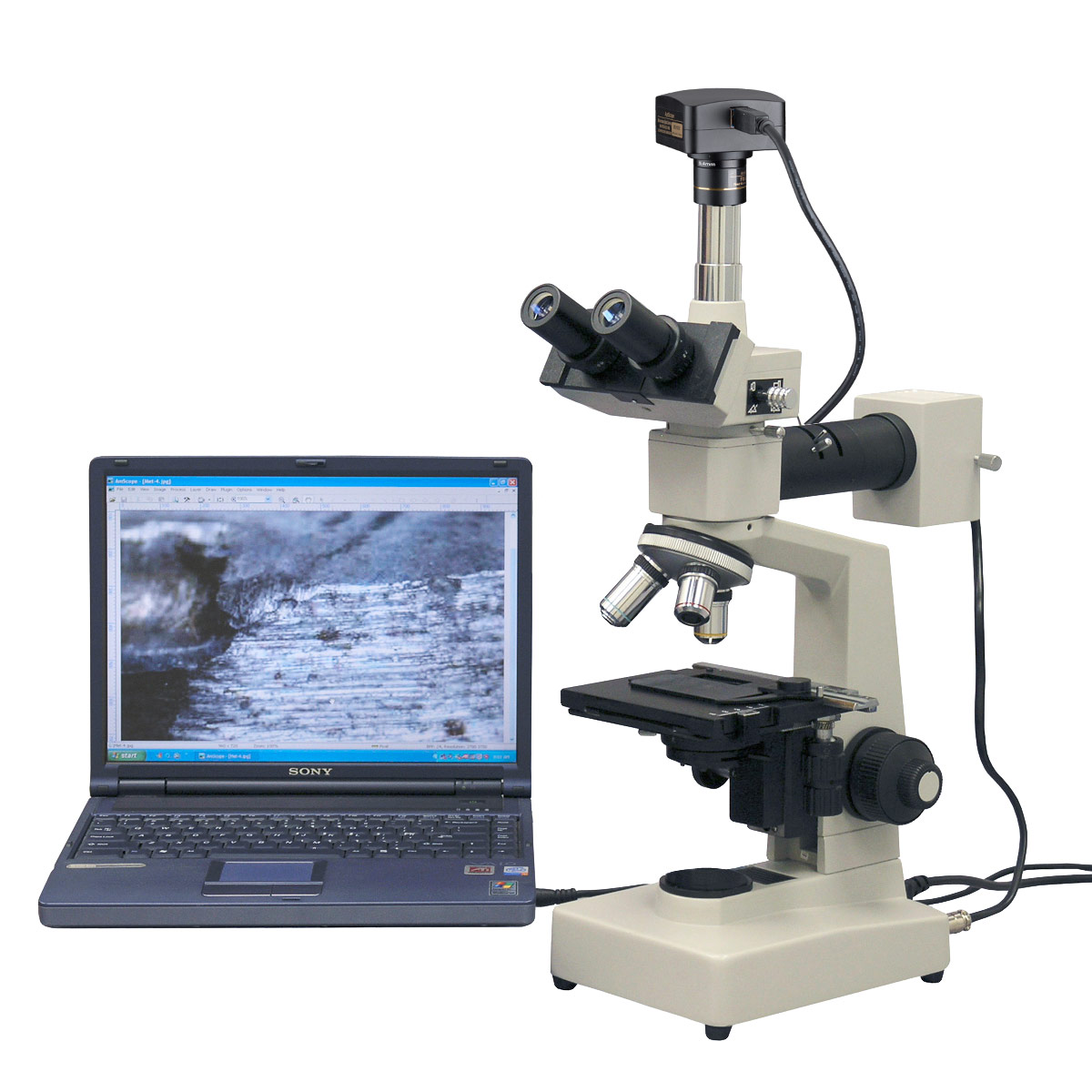 AmScope 40X-1000X Epi-illumination Metallurgical Microscope + 14MP USB 3.0 Digital Camera