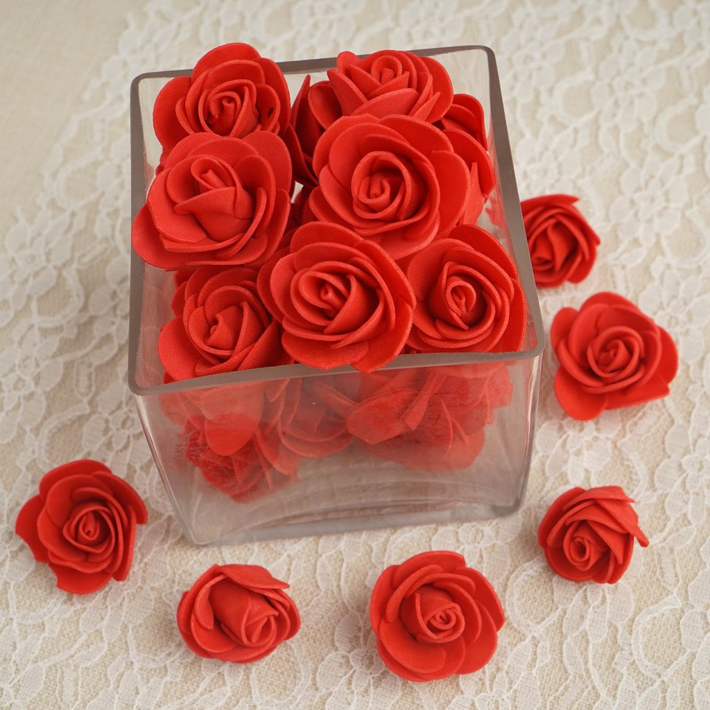 BalsaCircle 36 Foam Roses Heads Craft Flowers - Mini Flowers for DIY Wedding Party Favors Decorations Supplies