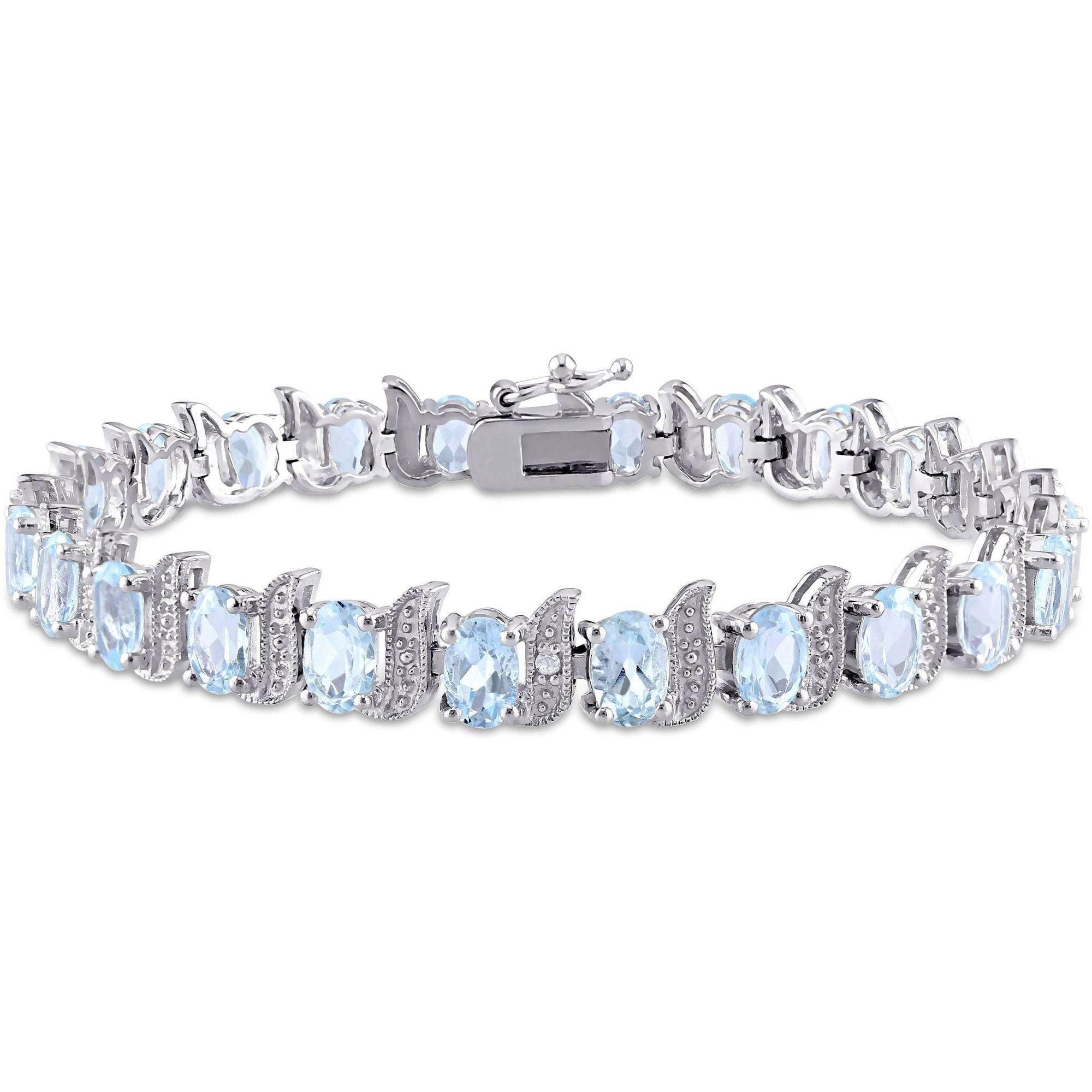 "Tangelo 12 Carat T.G.W. Sky Blue Topaz and Diamond-Accent Sterling Silver Tennis Bracelet, 7"" by Tangelo"