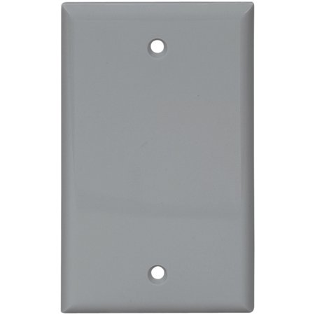 Cooper 5129GY Gray Unbreakable Single Gang Blank Box Mount Wall Plate