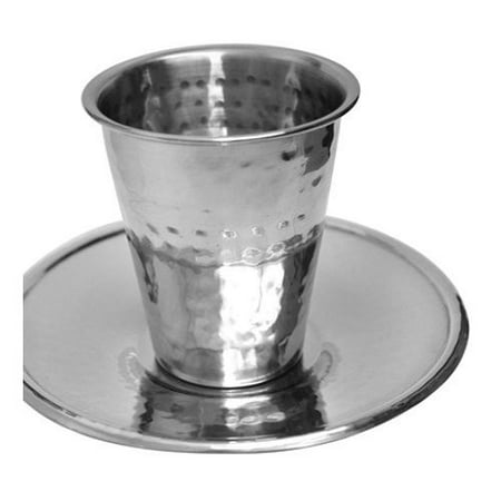 Ben and Jonah Stainless Steel Hammered Kiddush Cup with -