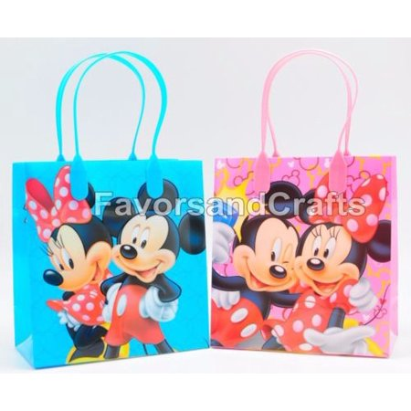 12 Mickey and Minnie Party Favor Bags Birthday Candy Treat Favors Gifts Plastic Bolsas De Recuerdo - Minnie And Mickey Party Supplies