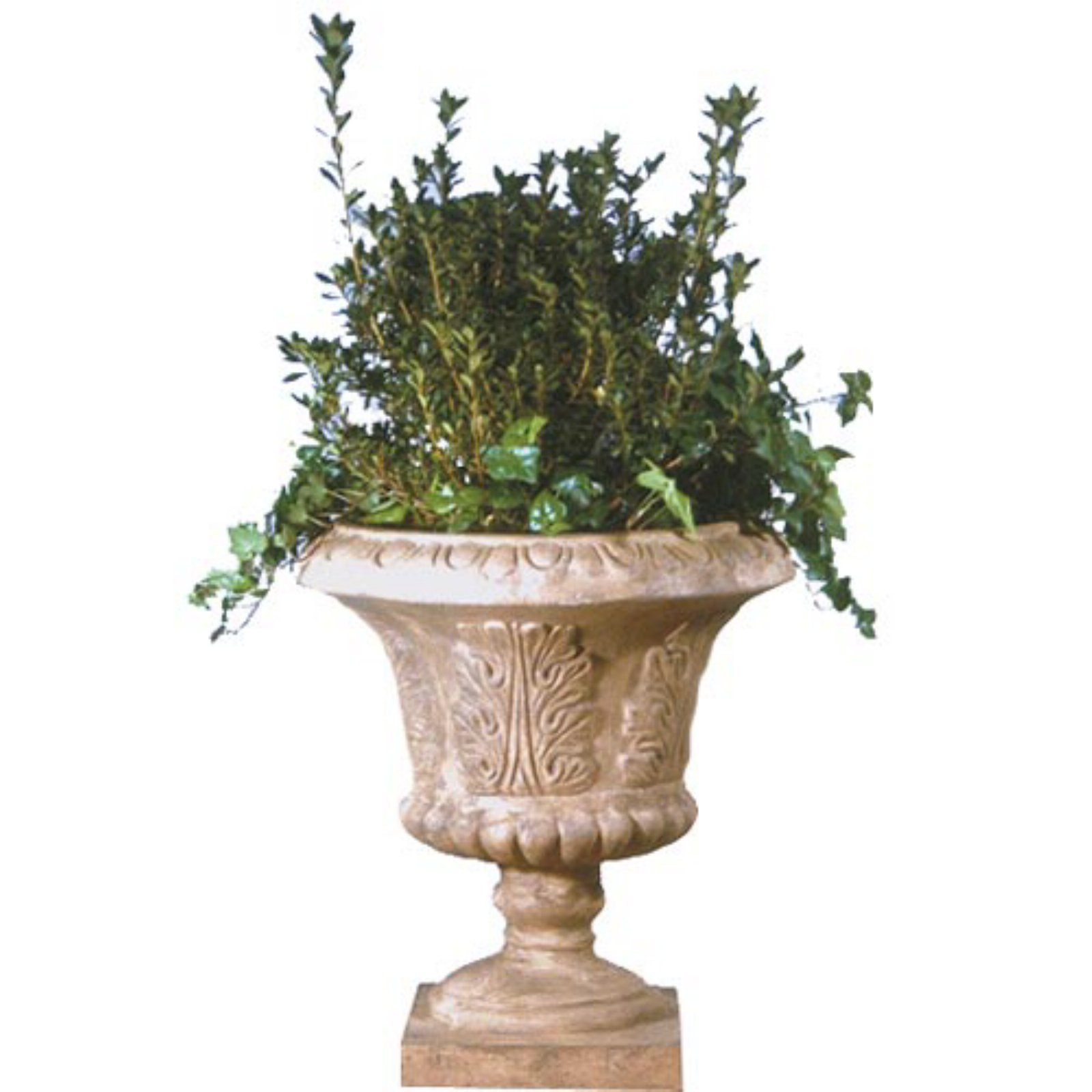 Charmant Large Round Resin Tuscan Leaf Urn Planter