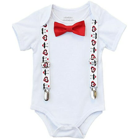 Noah's Boytique Baby Boys Valentines Day Bodysuit Shirt Outfit with Mustache Heart Suspenders and Red Bow Tie 6-12 Months