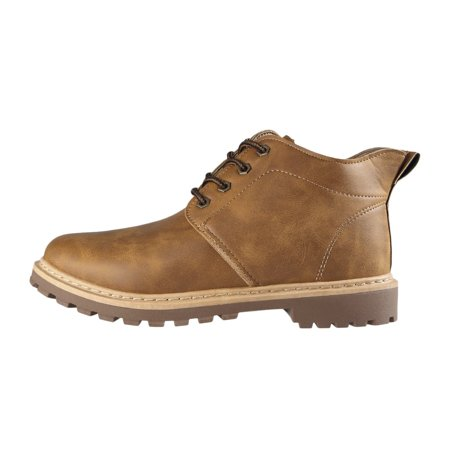 Autumn Winter Oil Wax Leather Martin Boots Casual Footwear Work Shoes Fashion Lace Up Leather Boots for Men - image 1 of 10