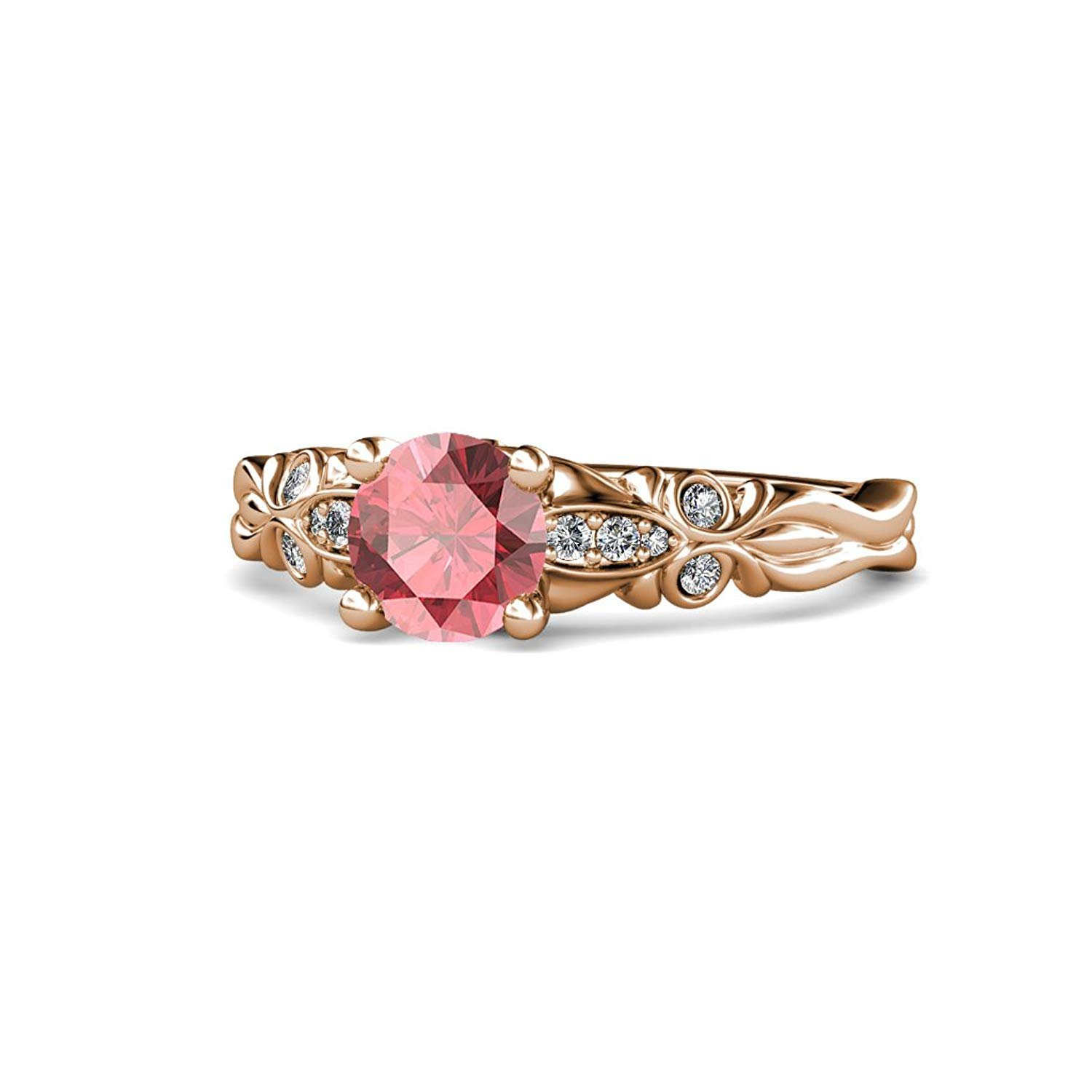 Pink Tourmaline and Diamond (SI2-I1, G-H) Butterfly Engagement Ring 1.09 ct tw in 14K Rose Gold.size 9 by TriJewels