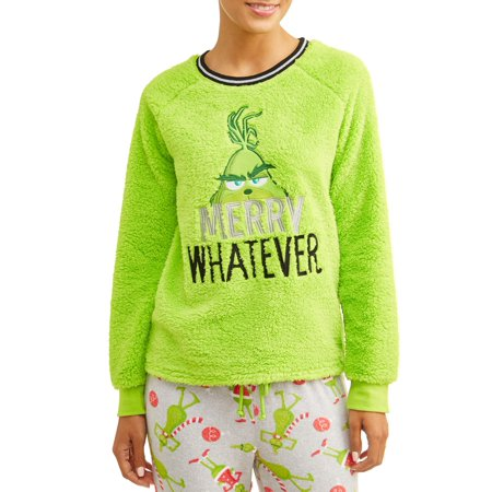 Grinch Women's and Women's Plus Merry Whatever Sherpa Top (Grinch Halloween Night)