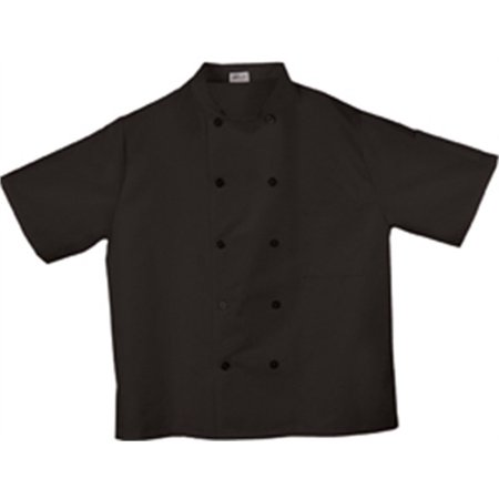 Coat Black Short Sleeve Buttons - Fame Fabrics C10P 10 Button Short Sleeve Classic Chef Coat