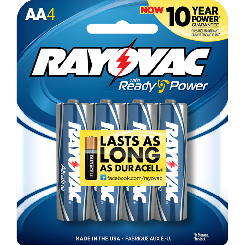 Rayovac Alkaline AA Batteries, 4-pack