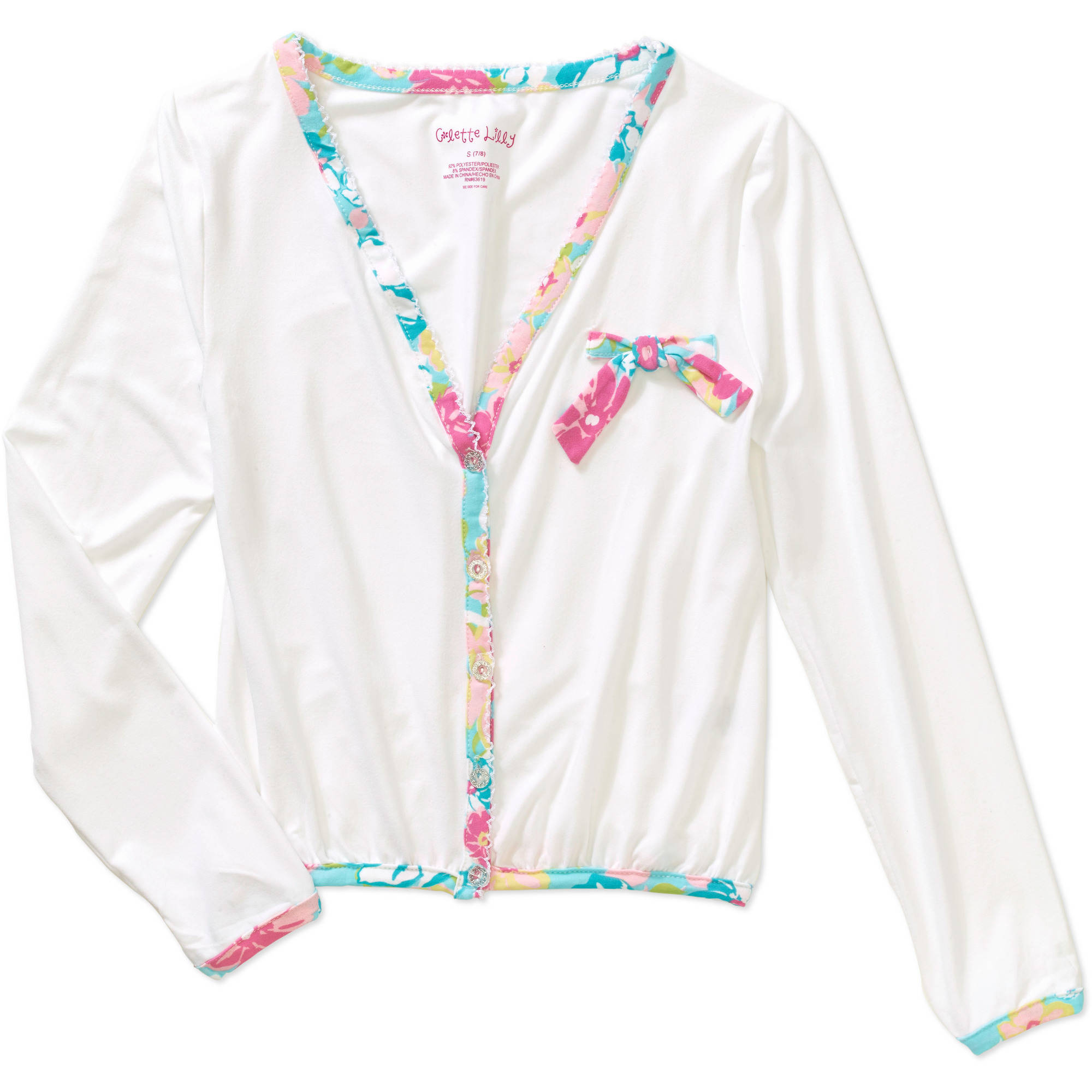 "Colette Lilly ""Fresh Bouquet"" Double Peached Cardigan with Lace Trim"