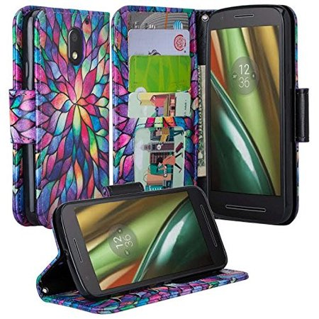 Moto G4 Play Case, Wrist Strap Pu Leather Magnetic Fold[Kickstand] Wallet Case with ID & Card Slots for Motorola G4 Play - Rainbow (Best Moto G4 Cases)