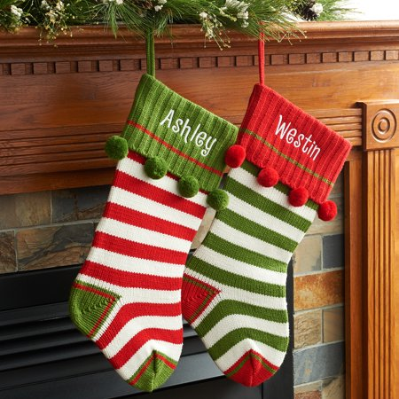 personalized striped knit christmas stocking available in multiple colors walmartcom - Striped Christmas Stockings