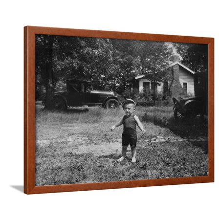 - Young Toddler Boy in His Ohio Yard, Ca. 1929. Framed Print Wall Art By Kirn Vintage Stock