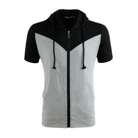 Unique Bargains Men's Zip Up Short Sleeves Color Block Drawstring Hooded Sweatshirt ()