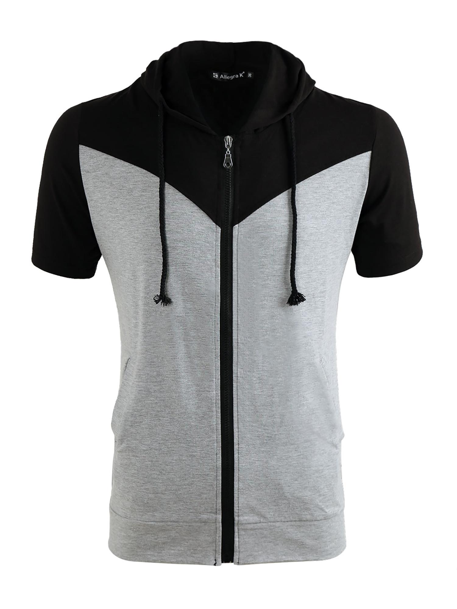 Azzuro Men's Contrast Color Zip Hoodie Black Gray (Size M / 40)