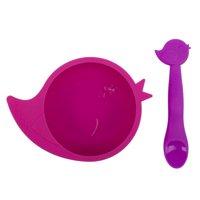 Kushies SiliBowl Silicone Bowl & Spoon Set Fuchsia and Violet
