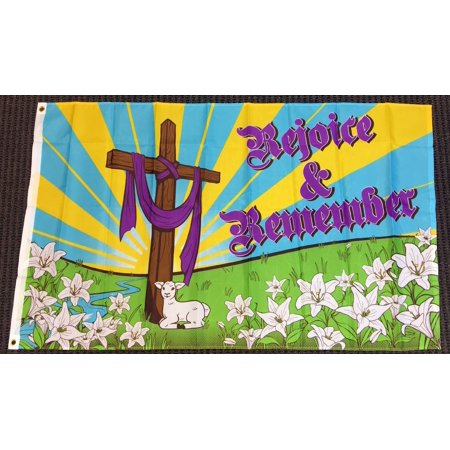 3X5 Rejoice and Remember Easter Cross Religious Flag Garden Outdoor -