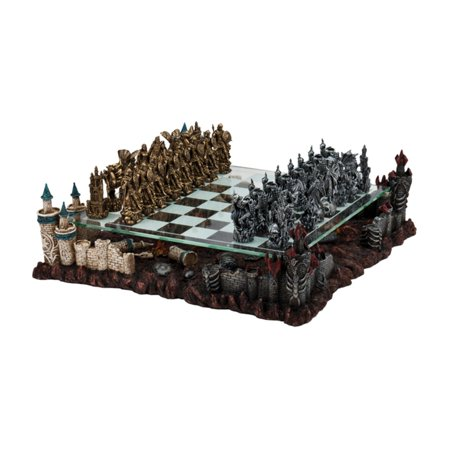 3D Fantasy Pewter Chess Set Bronze Metal Chess