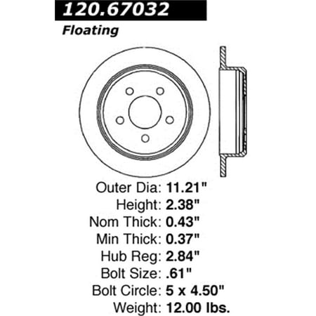StopTech 126.67032SL StopTech Sport Rotors; Rear Left; 11.22 in. Dia.; 2.38 in. Height;