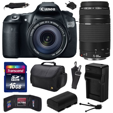 Canon EOS 60D 18 MP CMOS Digital SLR Camera with 18-135mm f/3.5-5.6 IS UD and EF 75-300mm f/4-5.6 III Lens with 16GB Memory + Large Case + Battery + Charger + Cleaning Kit (16GB Value Bundle) 4460B004
