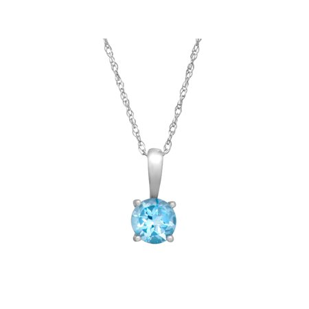 1/2 ct Natural Swiss Blue Topaz Pendant Necklace in 10kt White Gold, 16