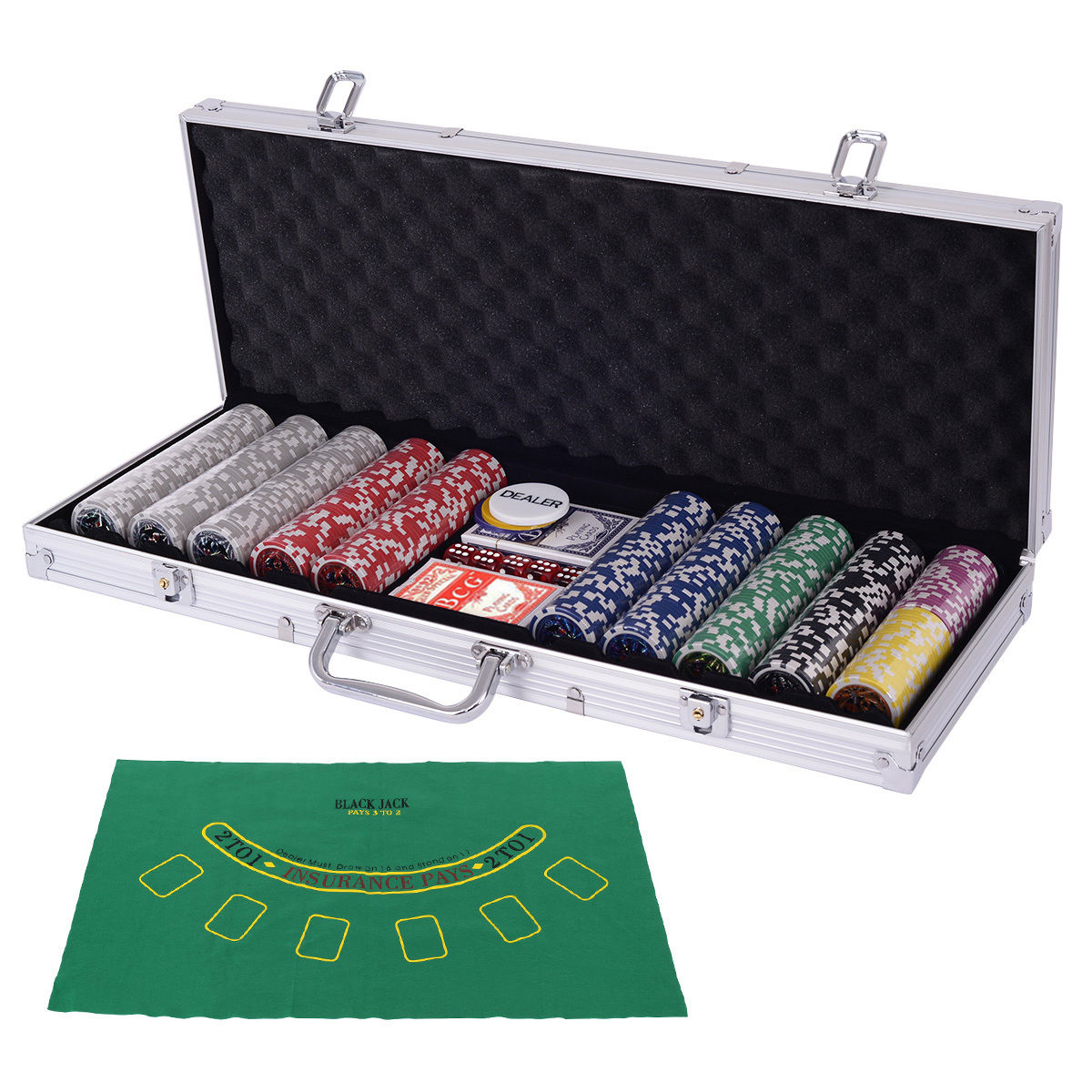 Costway Poker Chip Set 500 Dice Chips Texas Hold'em Cards with Silver Aluminum Case
