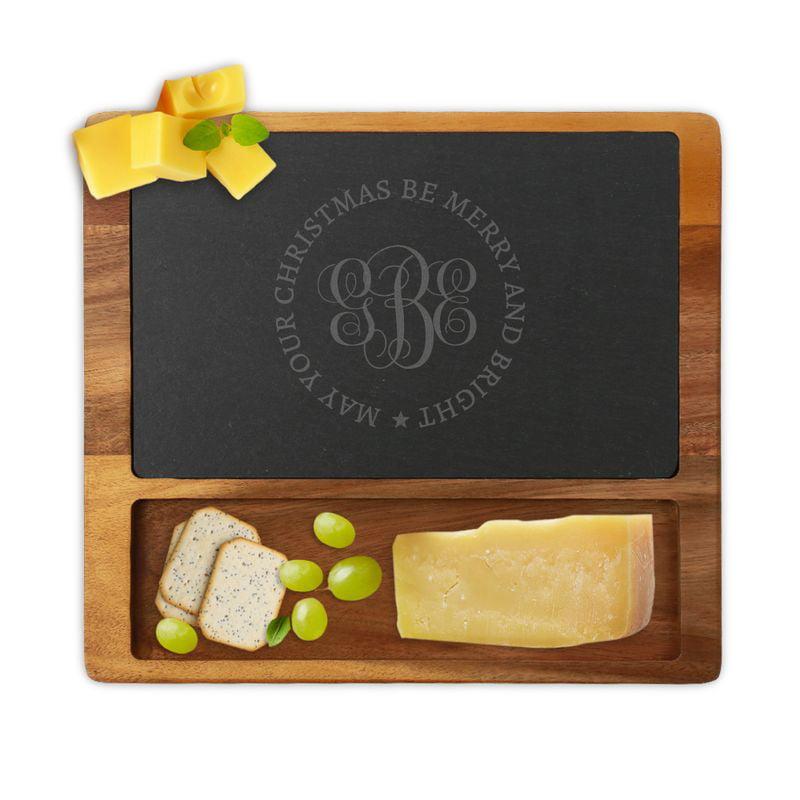 Custom Christmas Monogram Square Cheese Slate Board