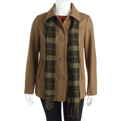 White Stag Women's Plus-Size Faux Wool Classic Coat with Plaid Scarf