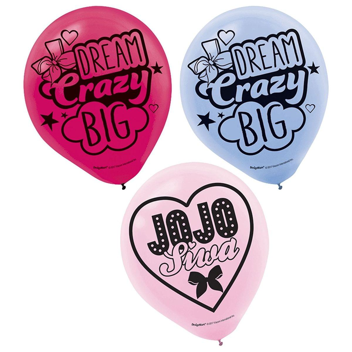 "JoJo Siwa 12"" Pink/Blue/Red Party Balloons, 6-Pack"