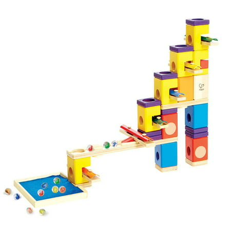 Hape Quadrilla Marble Runs Kids Wooden Music Motion Blocks Play Set with Marbles (Marble Toy Set)