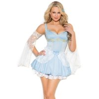 """Elegant Moments Women's """"Sassy Cinder Babe"""" 2 pc costume includes mini dress with and arm bands. Blue, Medium"""