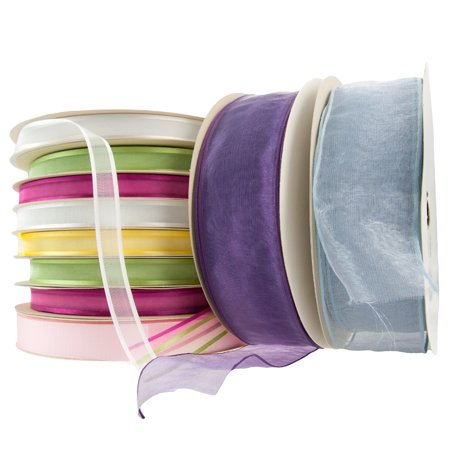10 Asst Fabric Craft Ribbon 100yd/Roll Pastel Opaque Sheer French Wire Woven Lot (Pastel Ribbons)