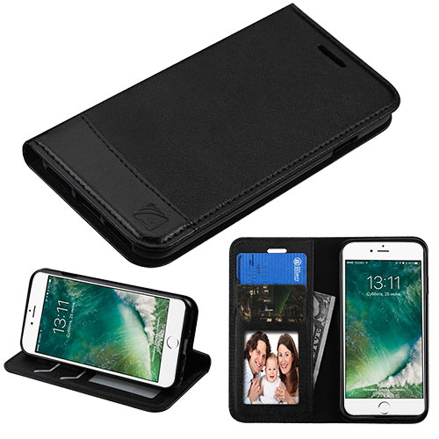 Insten For Apple iPhone 8 / iPhone 7 - Slim Fit Leather Folio Wallet Case Stand Cover with Photo display & Cash ID Credit Card slots - Black