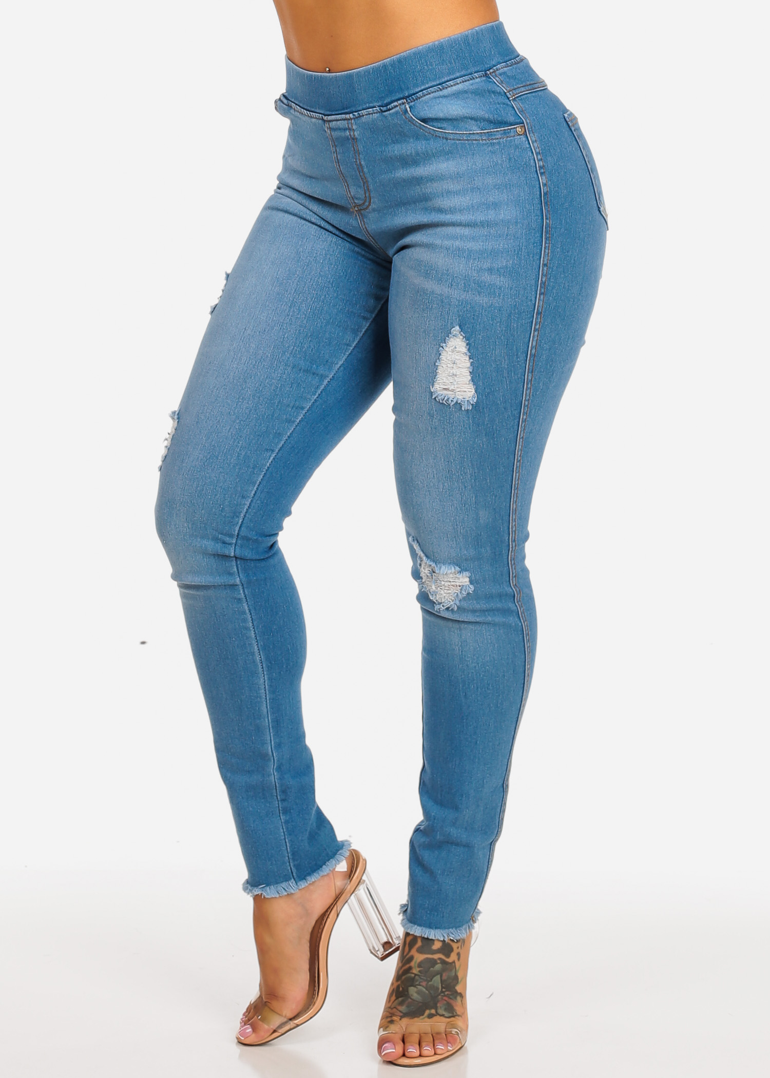 Womens Juniors Plus Size Light Blue High Waist Ripped Design Skinny Leg Raw Hem Casual Denim Jeans 10456M