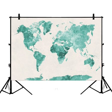PHFZK 7x5ft Abstract Art Splatter Painting Backdrops, Watercolor World Map Green Photography Backdrops Polyester Photo Background Studio Props - Mlp Background