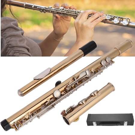 WALFRONT LADE Gold Plated 16 Hole C Brass Flute Kit Storage Case Cleaning Rod Grease, Flute Kit, Beginner Flute ()