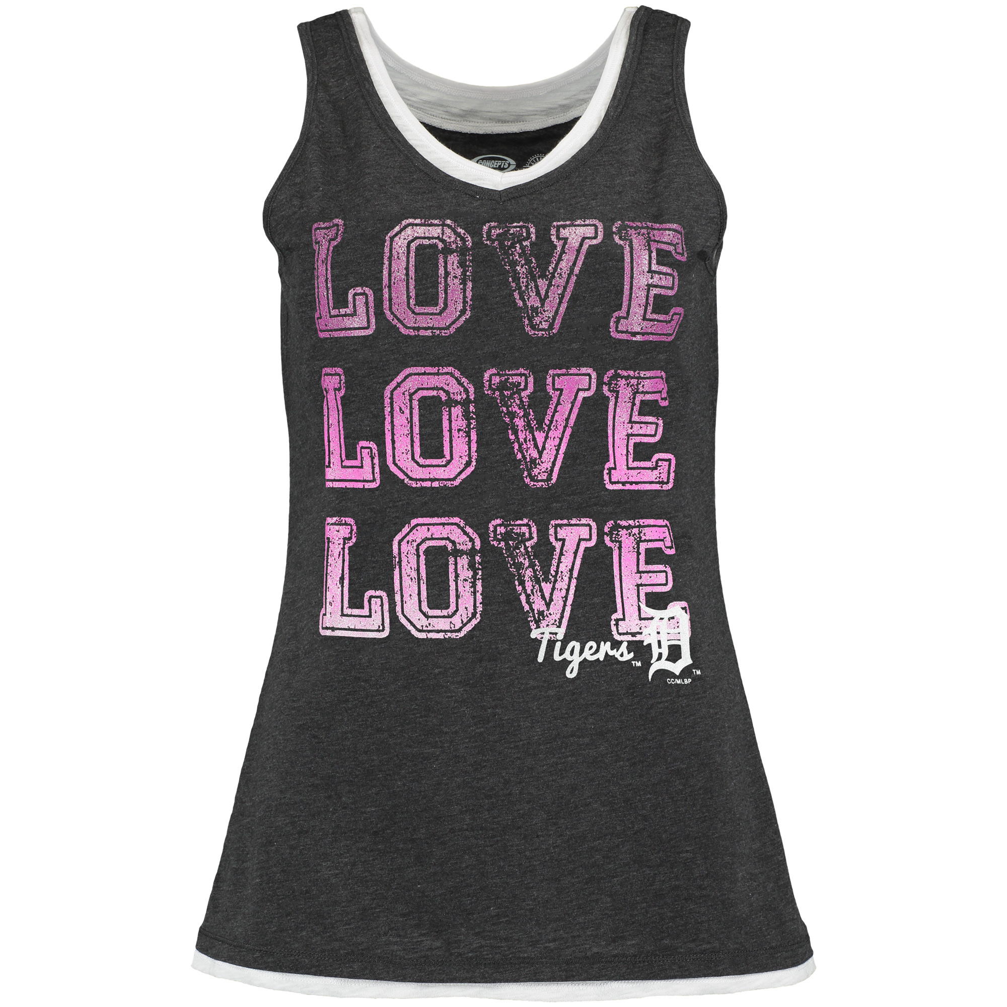 Detroit Tigers Concepts Sport Women's Crush Layered Tank Top Charcoal M by COLLEGE CONCEPTS