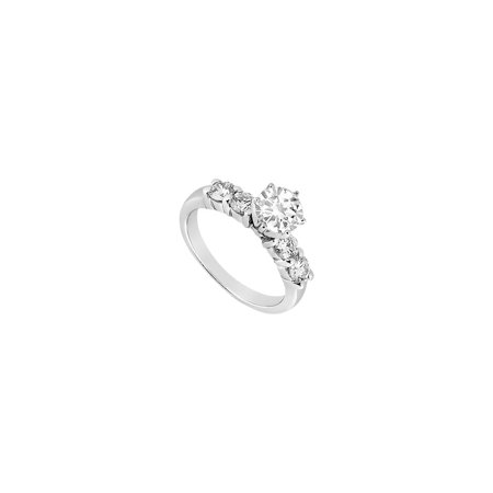 Engagement Ring in 14K White Gold Cubic Zirconia of 0.75 Carat Total Gem Weight - image 2 de 2